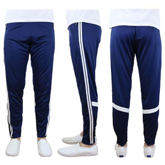 Daily Steals-Men's Moisture-Wicking Striped Jogger Track Pants-Men's Apparel-Style 2 - Navy-White-2X-Large-
