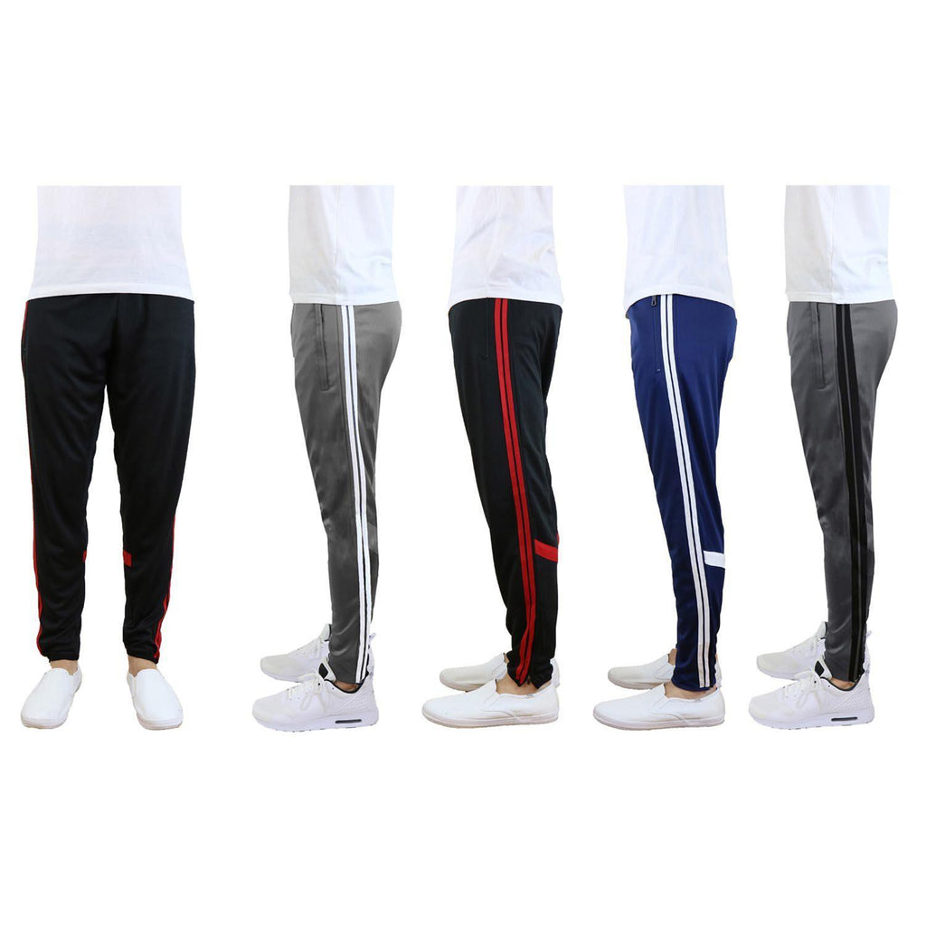 Daily Steals-Men's Moisture-Wicking Striped Jogger Track Pants-Men's Apparel-Style 1 - Black-Red-Small-