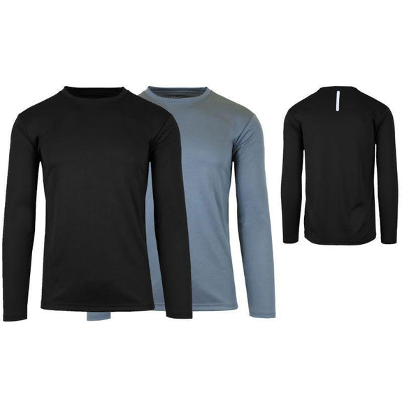 Men's Moisture Wicking Wrinkle Free Tagless Performance Tops - 2 Pack-Black & Charcoal-Long Sleeve-L