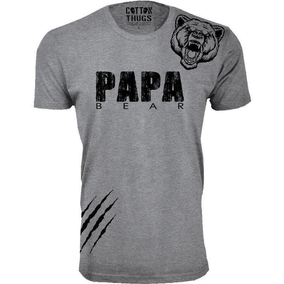 Men's Papa Bear Scratch Father's Day T-Shirts-Heather Grey-Black Print-M-