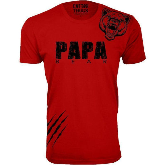 Men's Papa Bear Scratch Father's Day T-Shirts-Red-Black Print-S-