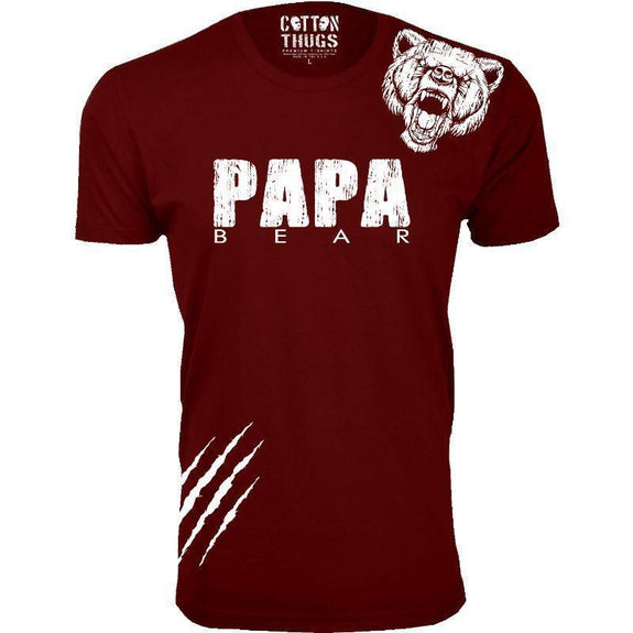 Men's Papa Bear Scratch Father's Day T-Shirts-Burgundy-2XL-