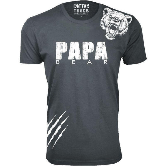 Men's Papa Bear Scratch Father's Day T-Shirts-Charcoal-XL-