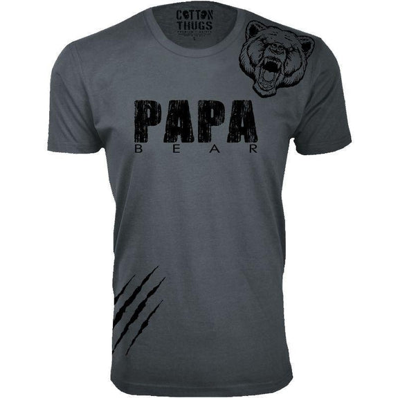 Men's Papa Bear Scratch Father's Day T-Shirts-Charcoal-Black Print-M-