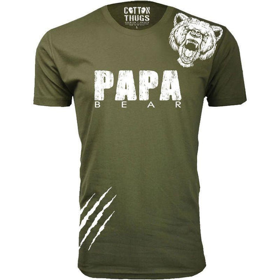 Men's Papa Bear Scratch Father's Day T-Shirts-Military Green-S-
