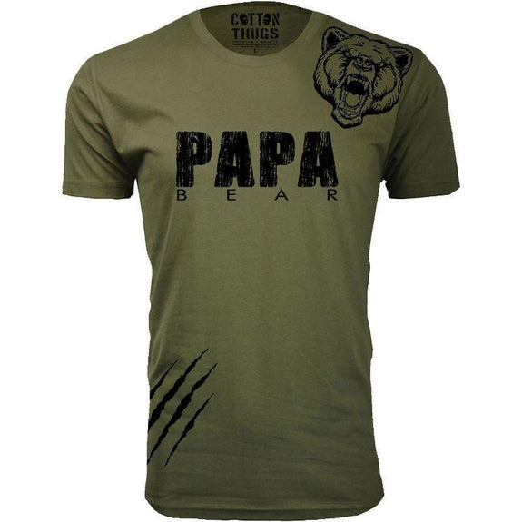 Men's Papa Bear Scratch Father's Day T-Shirts-Military Green-Black Print-S-