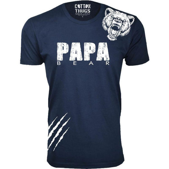 Men's Papa Bear Scratch Father's Day T-Shirts-Navy-3XL-