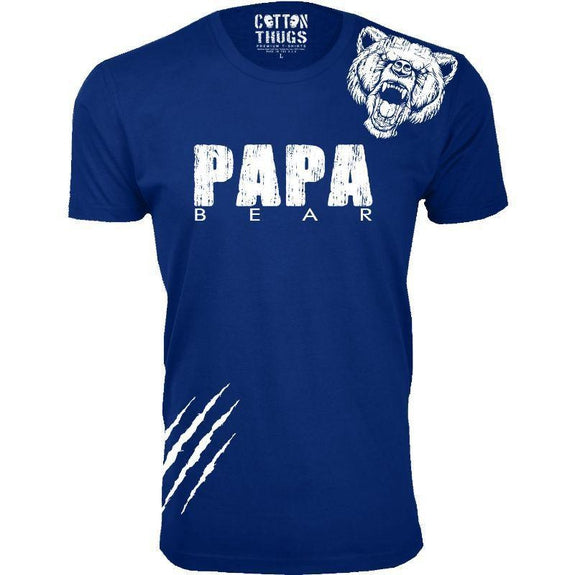 Men's Papa Bear Scratch Father's Day T-Shirts-Royal Blue-L-