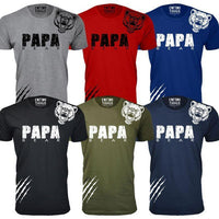 Men's Papa Bear Scratch Father's Day T-Shirts-Black-S-