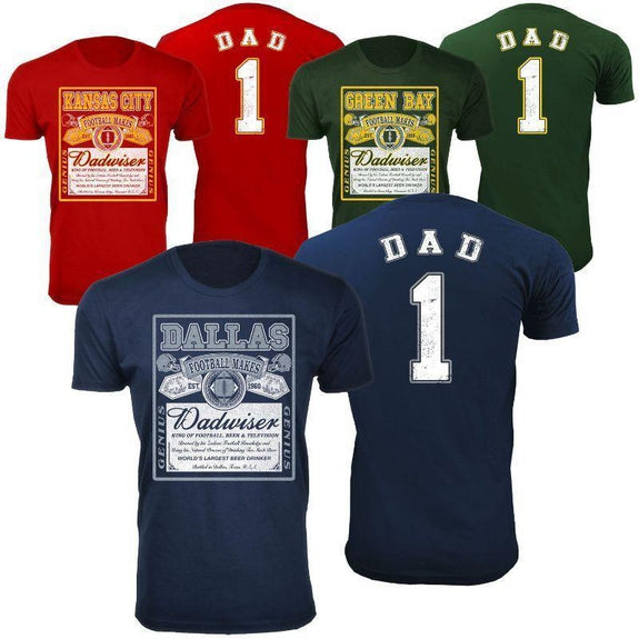 Men's Perfect Gift for Dad Dadwiser Football T-Shirts-S-Green Bay-