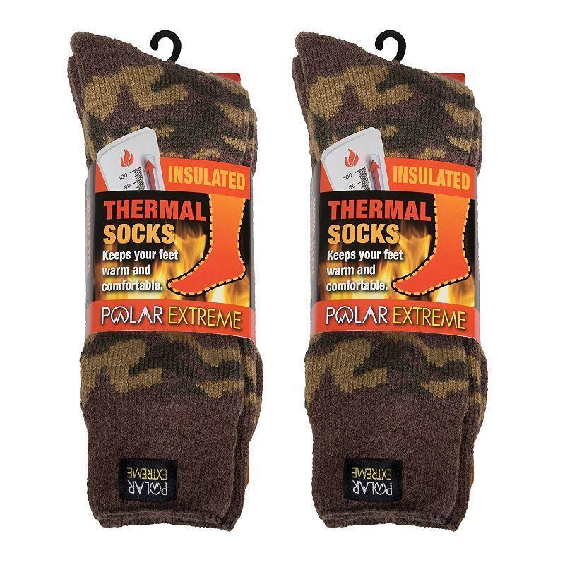 Men's Polar Extreme Thermal Insulated Camo Boot Socks - 2 or 3 Pack-
