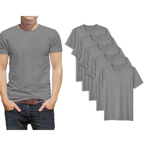 Daily Steals-Men's Premium Cotton T-Shirt - 5 Pack-Men's Apparel-Grey-Crew Neck-Small