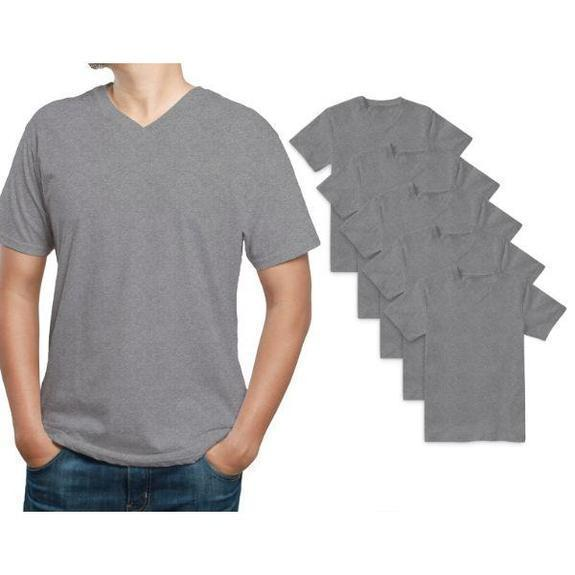 Daily Steals-Men's Premium Cotton T-Shirt - 5 Pack-Men's Apparel-Grey-V-Neck-Small