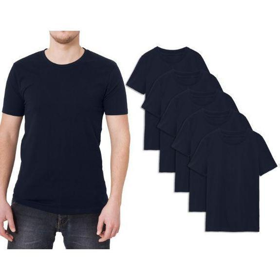 Daily Steals-Men's Premium Cotton T-Shirt - 5 Pack-Men's Apparel-Navy-Crew Neck-Small
