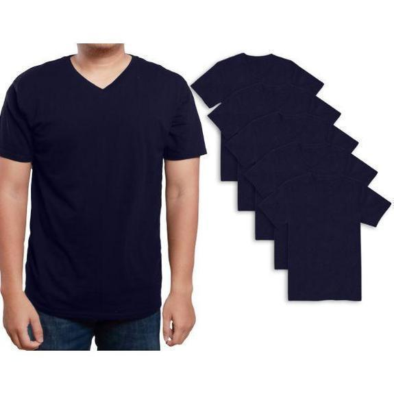 Daily Steals-Men's Premium Cotton T-Shirt - 5 Pack-Men's Apparel-Navy-V-Neck-Small