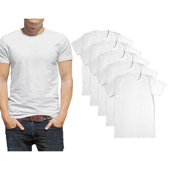 Daily Steals-Men's Premium Cotton T-Shirt - 5 Pack-Men's Apparel-White-Crew Neck-Small