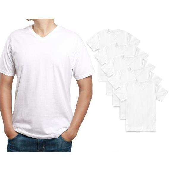 Daily Steals-Men's Premium Cotton T-Shirt - 5 Pack-Men's Apparel-White-V-Neck-Small