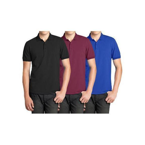 Daily Steals-Men's Short Sleeve Polo Shirts - 3 Pack-Men's Apparel-Black & Burgundy & Royal-Small-