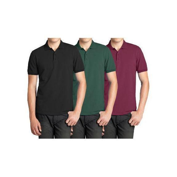 Daily Steals-Men's Short Sleeve Polo Shirts - 3 Pack-Men's Apparel-Black & Hunter & Burgundy-Small-