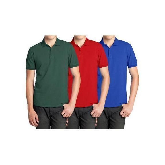 Daily Steals-Men's Short Sleeve Polo Shirts - 3 Pack-Men's Apparel-Hunter & Red & Royal-Small-