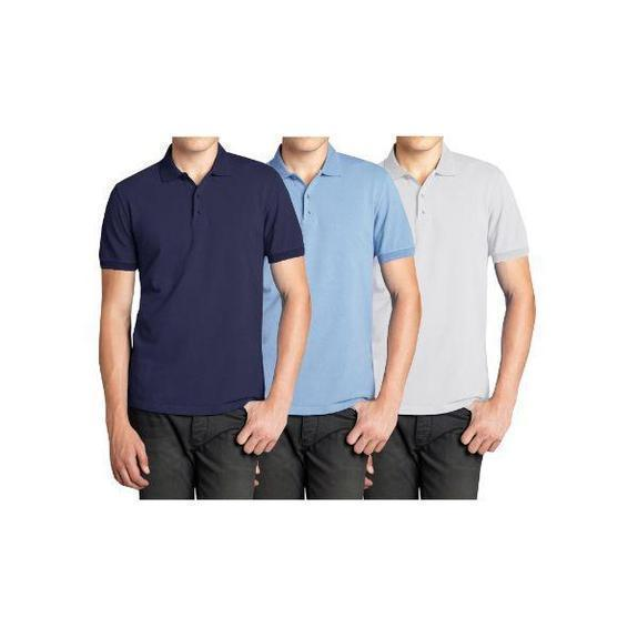 Daily Steals-Men's Short Sleeve Polo Shirts - 3 Pack-Men's Apparel-Navy & Light Blue & White-Small-