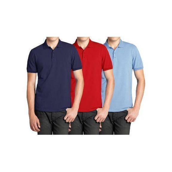Daily Steals-Men's Short Sleeve Polo Shirts - 3 Pack-Men's Apparel-Navy & Red & Light Blue-Medium-