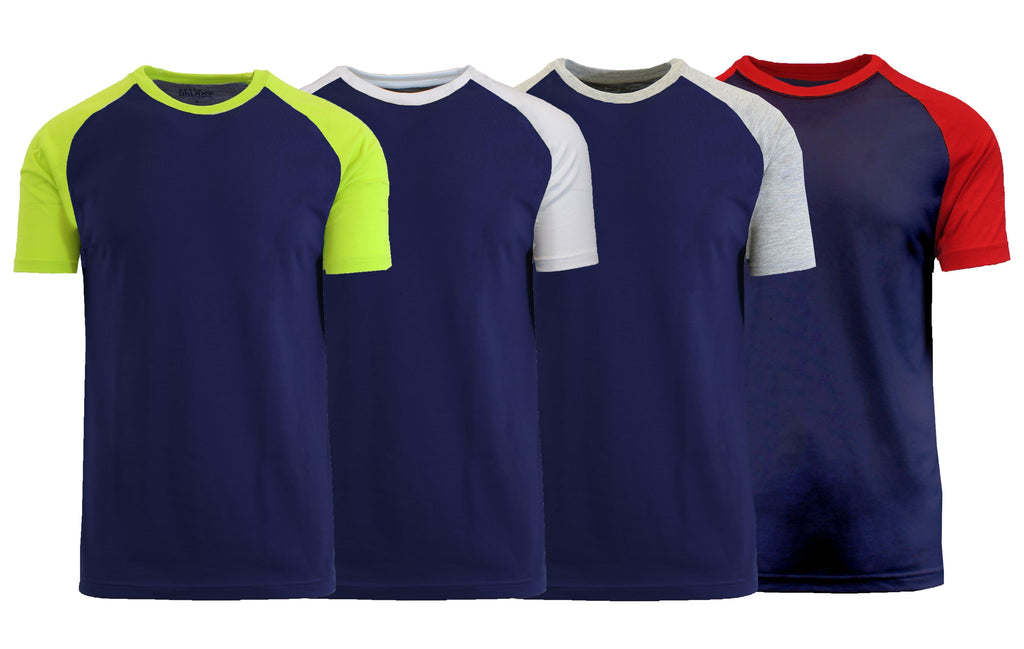Daily Steals-Men's Short Sleeve Raglan Tees - 4 Pack-Men's Apparel-Navy-Small-