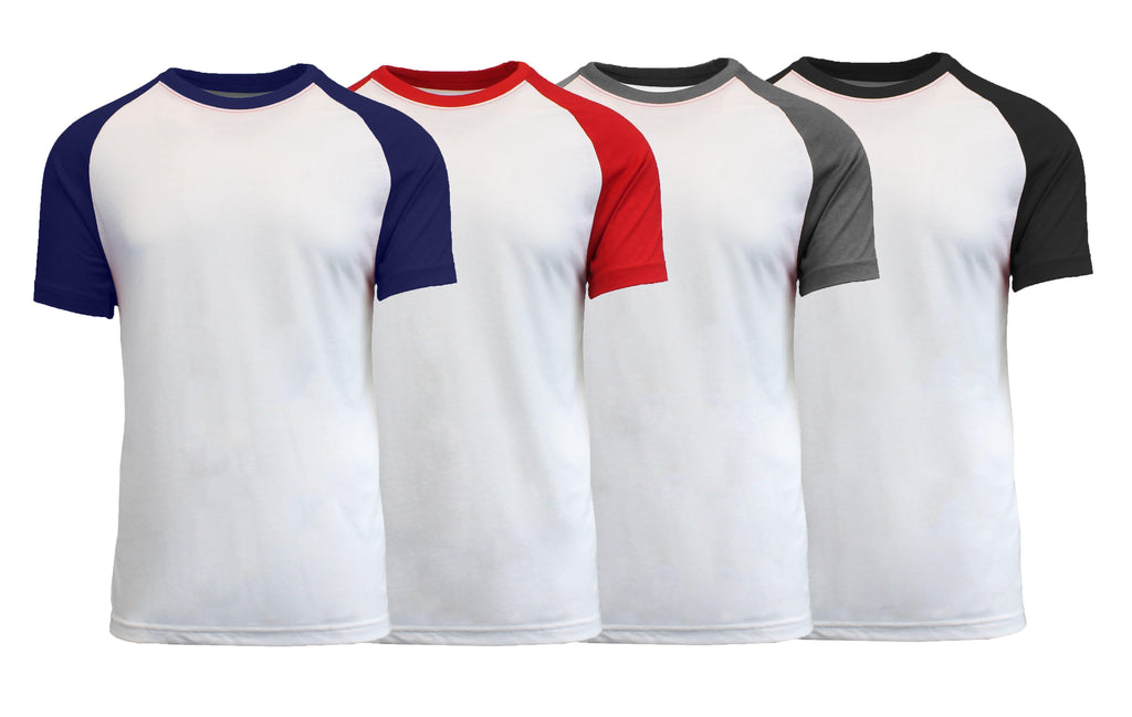 Daily Steals-Men's Short Sleeve Raglan Tees - 4 Pack-Men's Apparel-White-Small-
