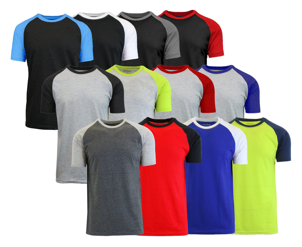 Daily Steals-Men's Short Sleeve Raglan Tees - 4 Pack-Men's Apparel-Black-Small-