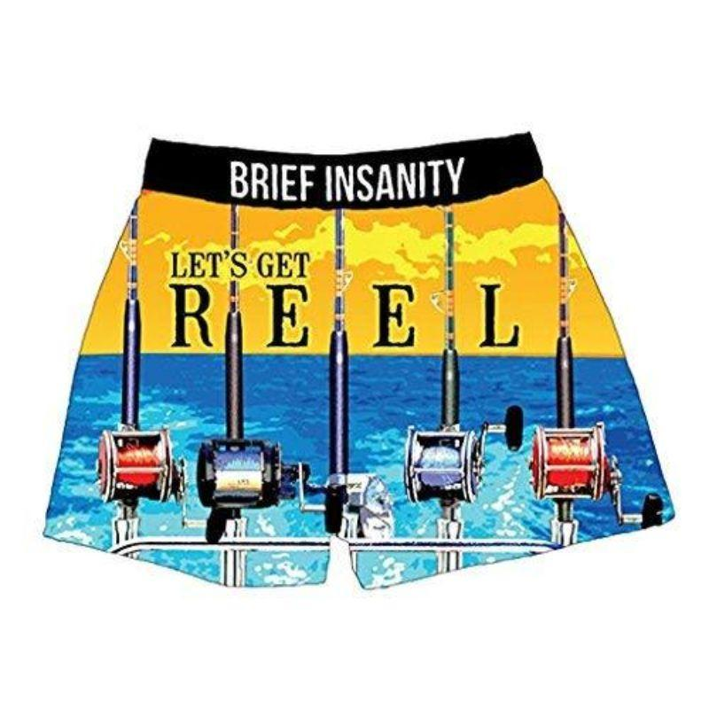 "Men's Silky Boxer Briefs ""Let's Get Reel Fishing Sailing""-S-"