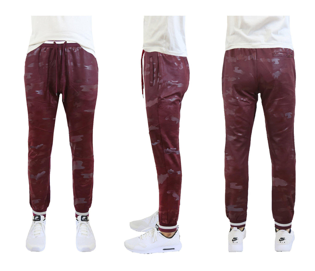 Daily Steals-Men's Slim Fit Camo Tech Stretch Joggers-Men's Apparel-Burgundy-Small-