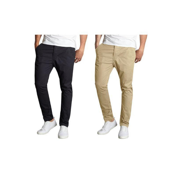 Pantalon chino en coton stretch à coupe ajustée pour homme - Lot de 2 - Noir et kaki - 30x30-Daily Steals