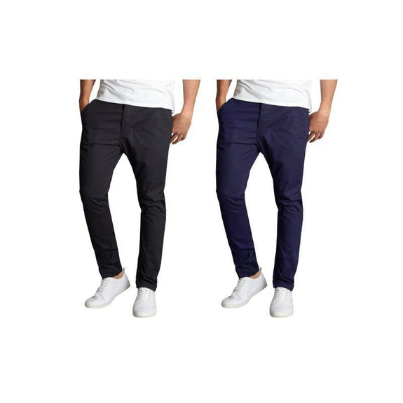 Pantalon chino en coton stretch stretch pour homme - Lot de 2 - Noir et bleu marine - 30x30-Daily Steals