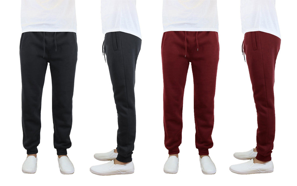 Daily Steals-Men's Slim Fit Fleece Jogger Sweatpants - 2 Pack-Men's Apparel-Black-Burgundy-Small-
