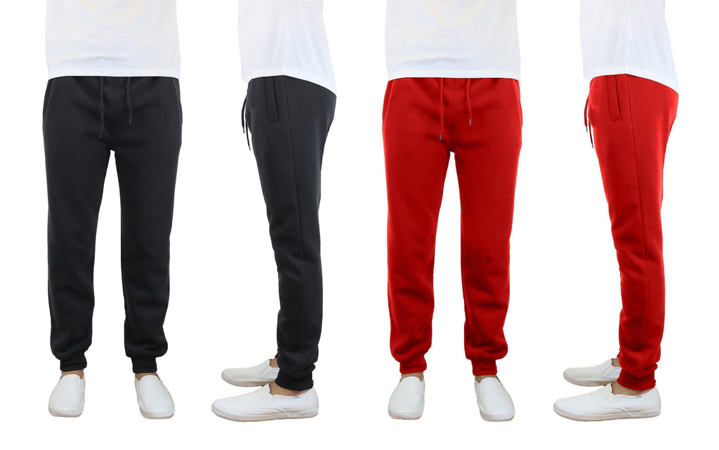 Daily Steals-Men's Slim Fit Fleece Jogger Sweatpants - 2 Pack-Men's Apparel-Black-Red-Small-