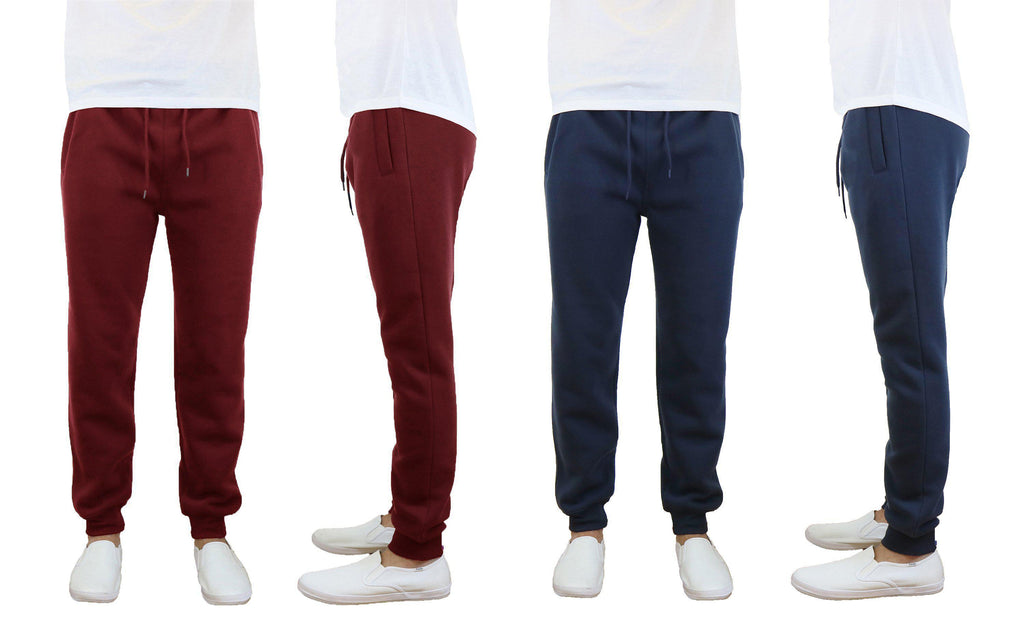 Daily Steals-Men's Slim Fit Fleece Jogger Sweatpants - 2 Pack-Men's Apparel-Burgundy-Navy-Small-
