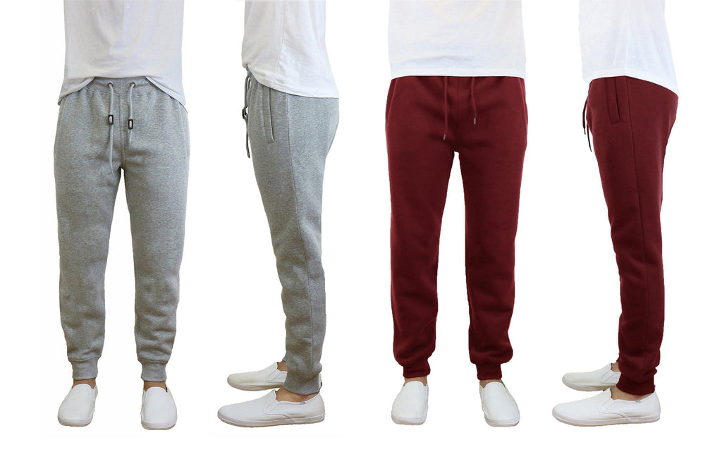Daily Steals-Men's Slim Fit Fleece Jogger Sweatpants - 2 Pack-Men's Apparel-Heather Grey-Burgundy-Small-