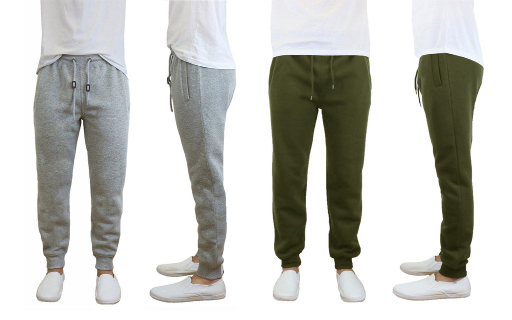 Daily Steals-Men's Slim Fit Fleece Jogger Sweatpants - 2 Pack-Men's Apparel-Heather Grey-Olive-Small-