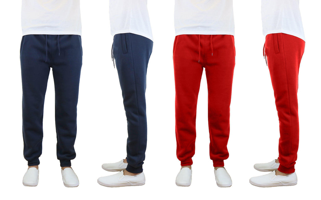 Daily Steals-Men's Slim Fit Fleece Jogger Sweatpants - 2 Pack-Men's Apparel-Navy-Red-Small-