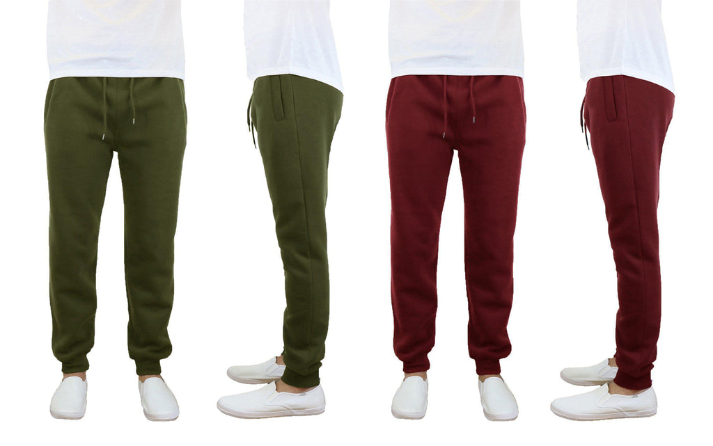 Daily Steals-Men's Slim Fit Fleece Jogger Sweatpants - 2 Pack-Men's Apparel-Olive-Burgundy-Small-
