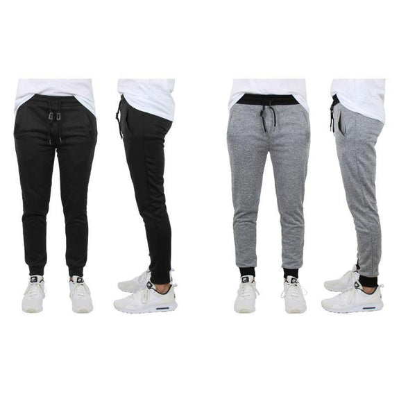 Men's Slim-Fit French Terry Jogger Lounge Pants - 2 Pack-Black & Heather Grey-S-