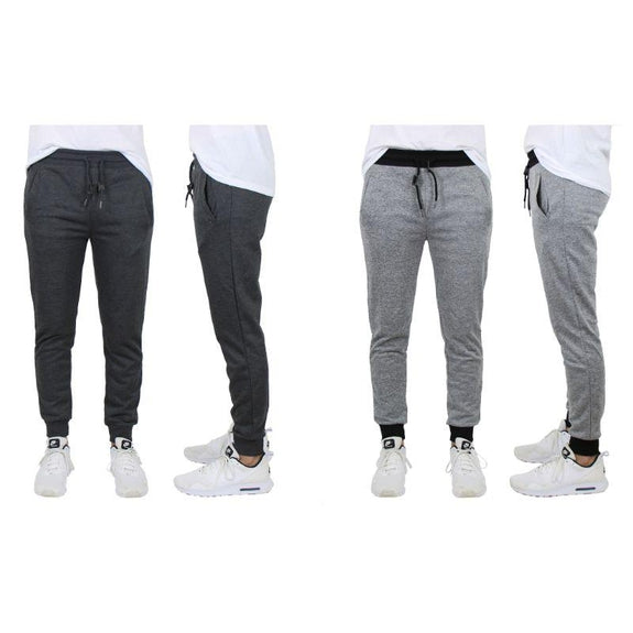 Men's Slim-Fit French Terry Jogger Lounge Pants - 2 Pack-Charcoal & Heather Grey-2XL-