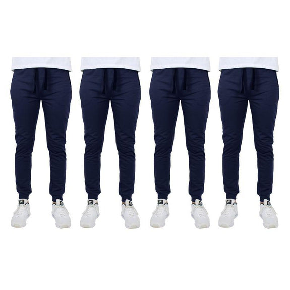 Men's Slim-Fit Joggers With Zipper Pockets - 4 Pack-Navy-L-