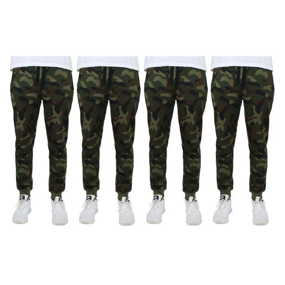 Men's Slim-Fit Joggers With Zipper Pockets - 4 Pack-Camo-M-