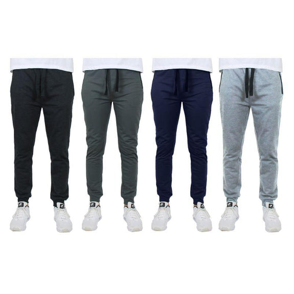 Men's Slim-Fit Joggers With Zipper Pockets - 4 Pack-Black, Charcoal, Navy, Heather Grey-S-