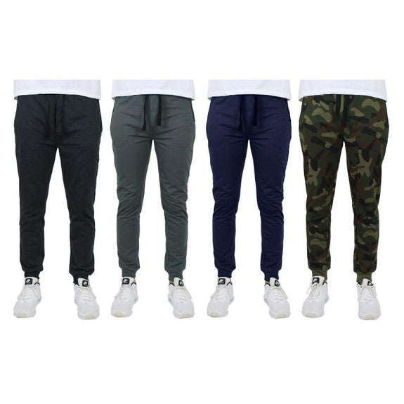 Men's Slim-Fit Joggers With Zipper Pockets - 4 Pack-Black, Charcoal, Navy, Camo-M-