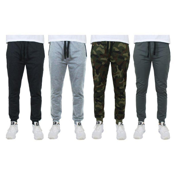 Men's Slim-Fit Joggers With Zipper Pockets - 4 Pack-Black, Heather Grey, Camo, Charcoal-XL-