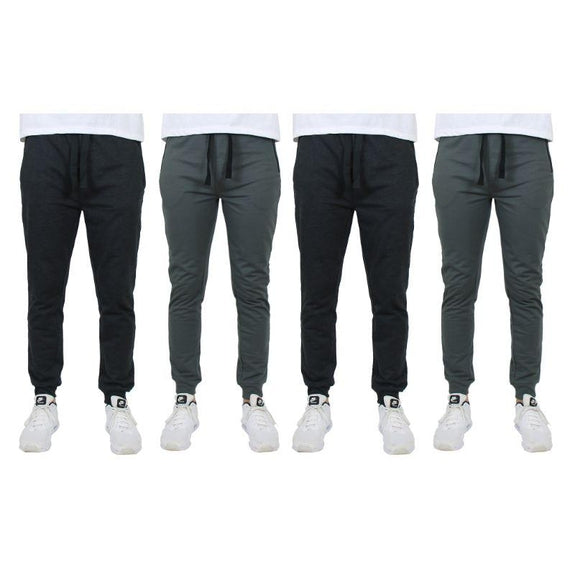 Men's Slim-Fit Joggers With Zipper Pockets - 4 Pack-Black, Black, Charcoal,Charcoal-2XL-