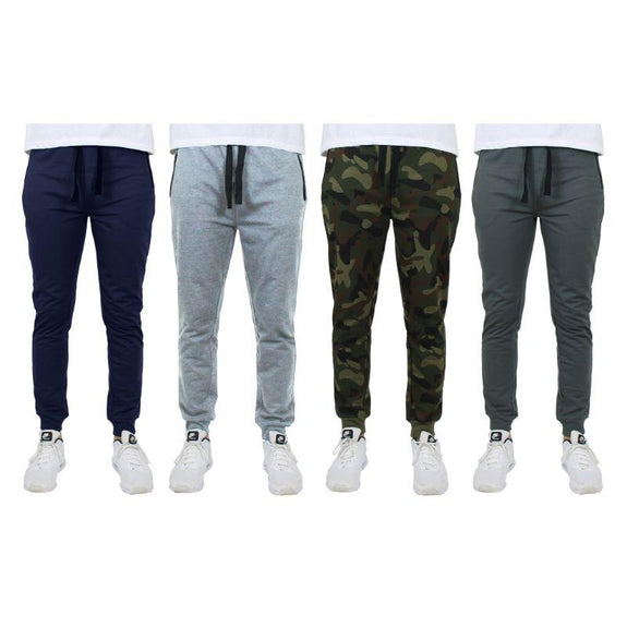 Men's Slim-Fit Joggers With Zipper Pockets - 4 Pack-Navy, Heather Grey, Camo, Charcoal-M-