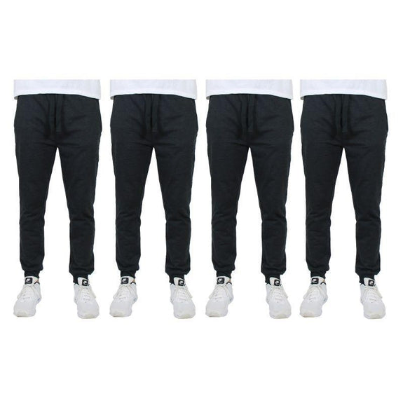 Men's Slim-Fit Joggers With Zipper Pockets - 4 Pack-Black-2XL-